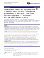 Health system context and implementation of evidence-based practices—development and validation of the Context Assessment for Community Health (COACH) tool for low- and middle-income settings
