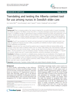 Translating and testing the Alberta context tool for use among nurses in Swedish elder care