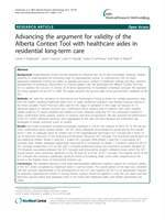 Advancing the argument for validity of the Alberta Context Tool with healthcare aides in residential long-term care