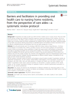 Barriers and facilitators in providing oral health care to nursing home residents, from the perspective of care aides—a systematic review protocol
