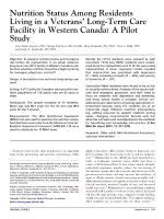 Nutrition status among residents living in a veterans' long-term care facility in Western Canada: a pilot study