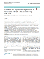 Individual and organizational predictors of health care aide job satisfaction in long term care