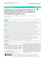 Individual and organizational predictors of allied healthcare providers' job satisfaction in residential long-term care