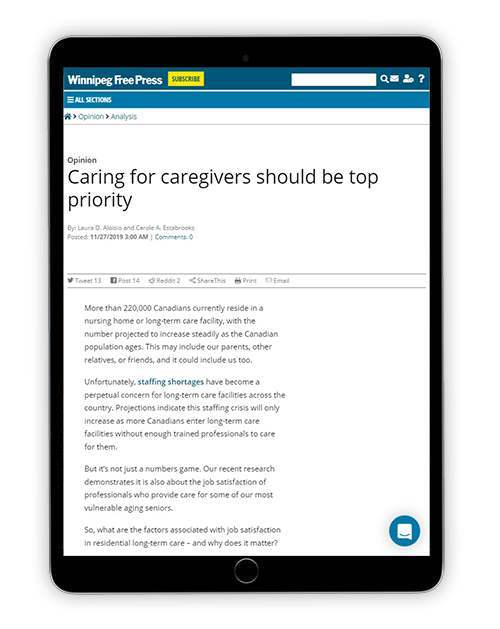 Caring for caregivers should be top priority