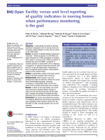 Facility versus unit level reporting of quality indicators in nursing homes when performance monitoring is the goal