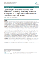 Optimizing the mobility of residents with dementia: a pilot study promoting healthcare aide uptake of a simple mobility innovation in diverse nursing home settings
