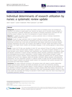 Individual determinants of research utilization by nurses: A systematic review update
