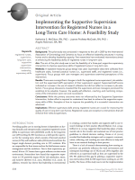 Implementing the supportive supervision intervention for registered nurses in a long-term care home: a feasibility study