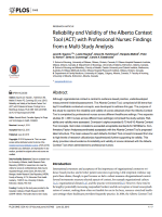 Reliability and validity of the Alberta Context Tool (ACT) with professional nurses: Findings from a multi-study analysis