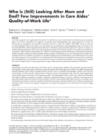 Who is (still) looking after mom and dad? Few improvement in care aides' quality-of-work life
