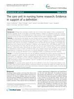 The care unit in nursing home research: Evidence in support of a definition