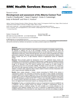 Development and assessment of the Alberta Context Tool