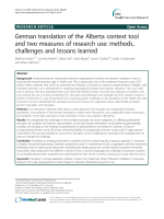 German translation of the Alberta context tool and two measures of research use: methods, challenges and lessons learned