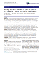 Nursing home administrators' perspectives on a study feedback report: a cross sectional survey