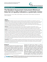 The Resident Assessment Instrument-Minimum Data Set 2.0 quality indicators: A systematic review