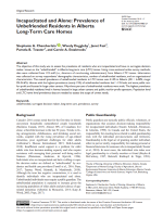 Incapacitated and Alone: Prevalence of Unbefriended Residents in Alberta Long-Term Care Homes